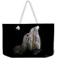 Weekender Tote Bag featuring the photograph Pointe Shoes And Dog Tags3 by Laurianna Taylor