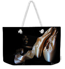 Weekender Tote Bag featuring the photograph Pointe Shoes, Dog Tags,and A Badge by Laurianna Taylor