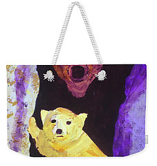 Weekender Tote Bag featuring the painting Cave Bear With Cub by Donald J Ryker III