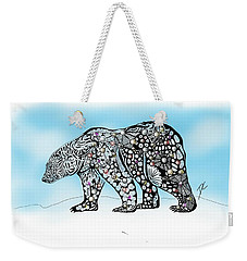 Weekender Tote Bag featuring the digital art Polar Bear Doodle by Darren Cannell