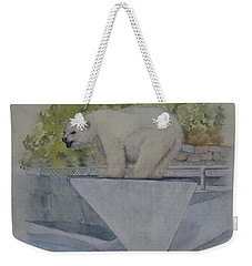 Weekender Tote Bag featuring the painting Polar Bear In Vancouver Stanley Park Zoo Vancouver, Bc by Kelly Mills