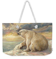 Weekender Tote Bag featuring the painting Polar Bear Rests On The Ice - Arctic Alaska by Svitozar Nenyuk