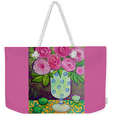 Weekender Tote Bag featuring the painting Polka-dot Vase by Rosemary Aubut