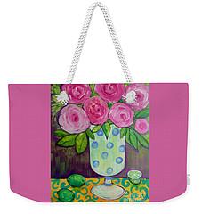 Polka-dot Vase Weekender Tote Bag by Rosemary Aubut