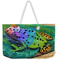 Polka-dotted Rainbow Frog Weekender Tote Bag
