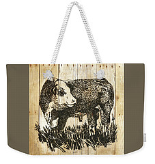 Weekender Tote Bag featuring the photograph Polled Hereford Bull 11 by Larry Campbell
