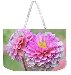 Weekender Tote Bag featuring the photograph Pompon Dahlias by John Poon