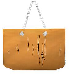 Pond Reeds In Reflected Sunrise Weekender Tote Bag