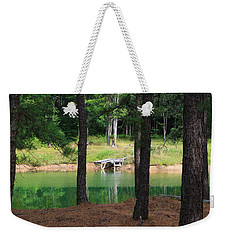 Weekender Tote Bag featuring the photograph Pond Side Dock by Rick Morgan