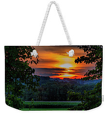 Weekender Tote Bag featuring the photograph Pond Sunset  by Betty Pauwels