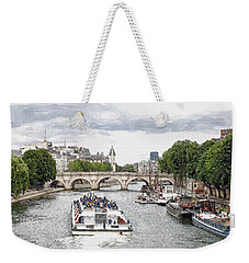 Weekender Tote Bag featuring the digital art Pont Neuf Panorama by Kai Saarto