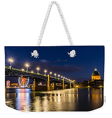 Weekender Tote Bag featuring the photograph Pont Saint-pierre With Street Lanterns At Night by Semmick Photo