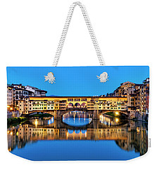 Weekender Tote Bag featuring the photograph Ponte Vecchio At Night by Fabrizio Troiani