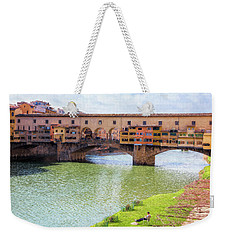 Weekender Tote Bag featuring the photograph Ponte Vecchio Florence Italy II Painterly by Joan Carroll