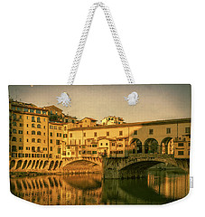 Weekender Tote Bag featuring the photograph Ponte Vecchio Morning Florence Italy by Joan Carroll