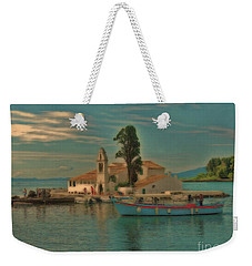 Weekender Tote Bag featuring the photograph Pontikonisi Corfu by Leigh Kemp