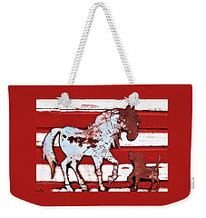 Weekender Tote Bag featuring the photograph Pony And Pup by Larry Campbell