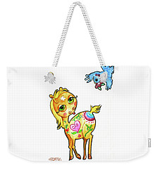 Pony And The Bluebird Watercolor Pencil Art Weekender Tote Bag