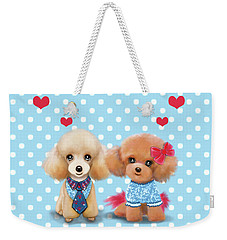 Weekender Tote Bag featuring the painting Poodles Are Love by Catia Lee