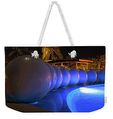 Weekender Tote Bag featuring the photograph Pool Balls At Night by Shane Bechler