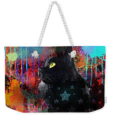 Pop Art Black Cat Painting Print Weekender Tote Bag
