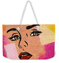 Weekender Tote Bag featuring the mixed media Pop Art Comic Woman by Dan Sproul