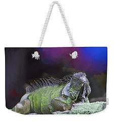 Weekender Tote Bag featuring the painting Pop Iguana Edition 2 by Judy Kay