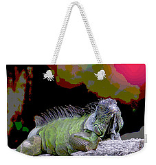Weekender Tote Bag featuring the painting Pop Iguana by Judy Kay