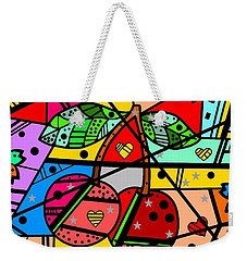 Weekender Tote Bag featuring the digital art Popart Cherry By Nico Bielow by Nico Bielow