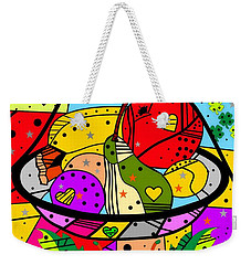 Weekender Tote Bag featuring the digital art Popart Fruits By Nico Bielow by Nico Bielow