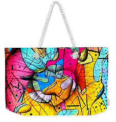Weekender Tote Bag featuring the digital art Popart Rain By Nico Bielow by Nico Bielow