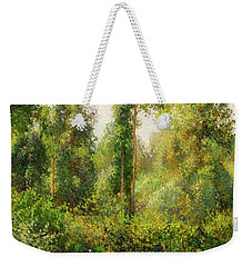 Weekender Tote Bag featuring the painting Poplars - Eragny by Camille Pissaro