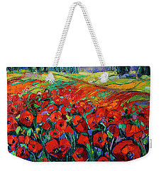 Poppies And Cypresses - Modern Impressionist Palette Knives Oil Painting Weekender Tote Bag