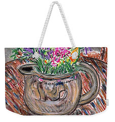 Poppies And Lupines In Pitcher Weekender Tote Bag by Gerhardt Isringhaus