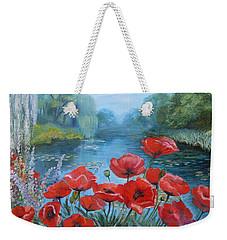 Poppies At Peaceful Pond Weekender Tote Bag