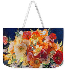 Poppies, Clematis, And Daffodils In Porcelain Vase. Weekender Tote Bag