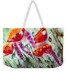 Weekender Tote Bag featuring the painting Poppies In The Wind by Maria Barry