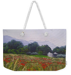 Weekender Tote Bag featuring the painting Poppies In Tuscany by Chris Hobel