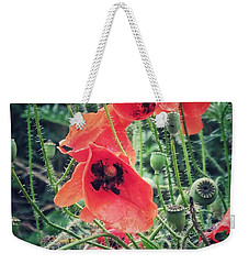 Weekender Tote Bag featuring the photograph Poppies by Karen Stahlros