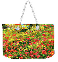 Weekender Tote Bag featuring the painting Poppies Near The Village by Dmitry Spiros