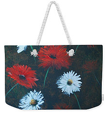 Weekender Tote Bag featuring the painting Poppin Daisies by Leslie Allen