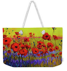 Weekender Tote Bag featuring the painting Poppy Flower Field Oil Painting With Palette Knife by Patricia Awapara