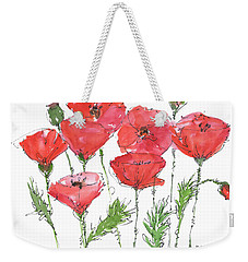 Poppy Garden Weekender Tote Bag by Kathleen McElwaine