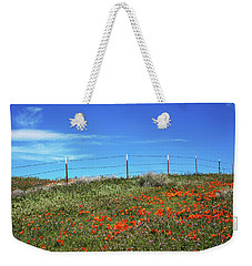 Weekender Tote Bag featuring the mixed media Poppy Hill- Art By Linda Woods by Linda Woods