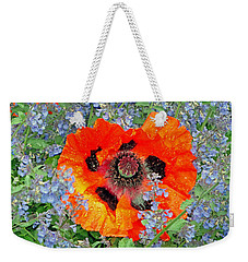 Poppy In Blue Weekender Tote Bag