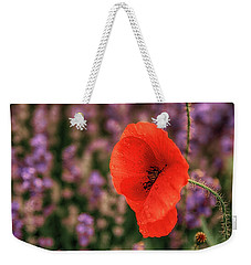 Poppy In The Lavender Field Weekender Tote Bag