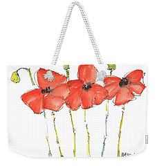 Red Poppy Play Weekender Tote Bag by Kathleen McElwaine