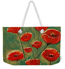 Weekender Tote Bag featuring the painting Poppy Surprise by Leslie Allen