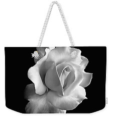 Porcelain Rose Flower Black And White Weekender Tote Bag by Jennie Marie Schell