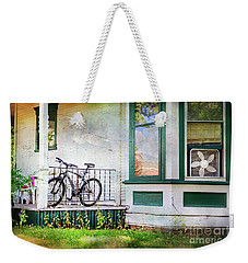 Weekender Tote Bag featuring the photograph Porch And Window Fan Bicycle by Craig J Satterlee